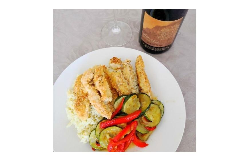 Accord met vin du 15 Mars 2021 : poulet en croûte de sésame et Deux Tilleuls